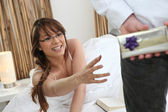 Woman reaching out her arm — Stock Photo