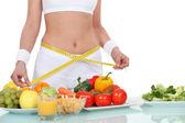 γυναίκα τρώει υγιεινά τρόφιμα — Φωτογραφία Αρχείου