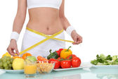 Kvinna äta hälsosam mat — Stockfoto