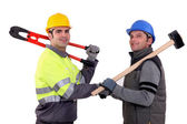 Workmen shaking hands — Stock Photo
