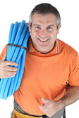 Plumber with his thumbs up — Stock Photo