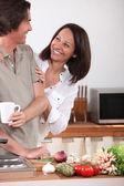 Husband cooking — Stock Photo