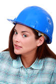 A sceptical tradeswoman — Stock Photo