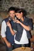 Portrait of a couple tasting wine — Stock Photo