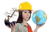 Female conservationist — Stock Photo