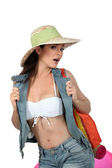 Sexy woman going to the beach — Stock Photo