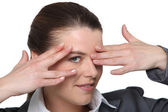 Portrait of a woman hiding her eyes — Stock Photo