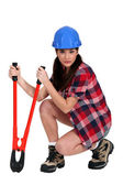 Woman with bolt-cutters — Stock Photo