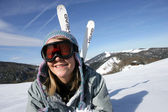 Teenager out skiing — Stock Photo