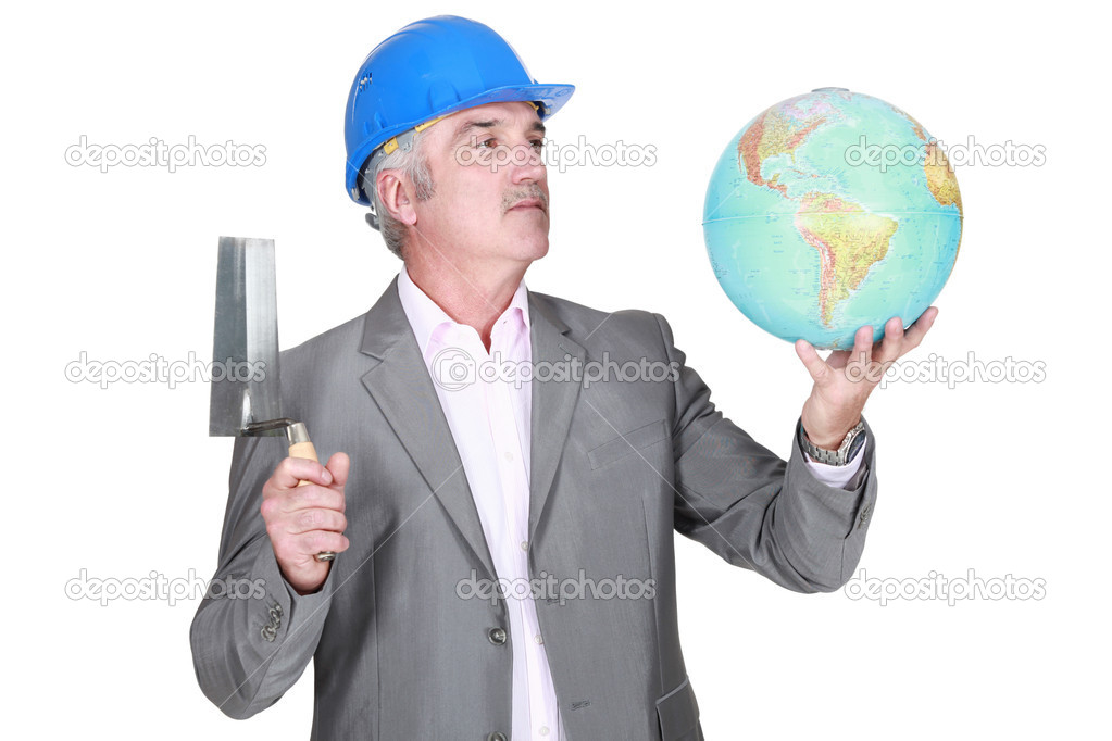 Engineer with a globe — Stock Photo #8965673