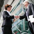 Senior businesswomen shaking hands — Stock Photo