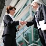 Senior businesswomen shaking hands — Stock Photo