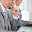 Portrait of a man with headset — Stock Photo