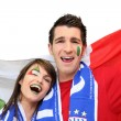Royalty-Free Stock Photo: Couple of Italian football supporters