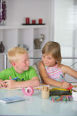 Children working on arts and crafts — Stock Photo