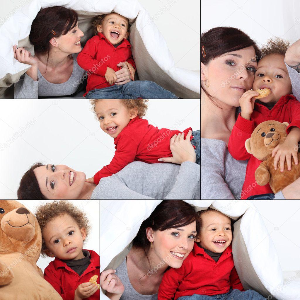 Сын с мамой играют в карты 16 фотография