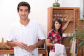 Boy and girl living together — Stock Photo