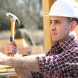 Royalty-Free Stock Photo: Handyman hitting a nail with a hammer