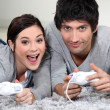 Couple playing computer games — Foto Stock
