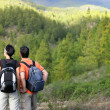 Stock Photo: Couple hiking in wilderness