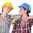 Stock Photo: Two female carpenters chatting