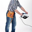 Stock Photo: Mwith circular saw