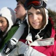 Friends on skiing trip — Stock Photo