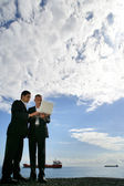 Businessmen using a laptop against a blue sky with fluffy clouds — Stock Photo