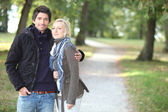 Romantic couple at autumn — Stock Photo