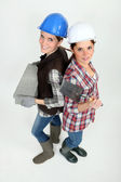 Two female bricklayers — Stock Photo