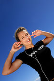 Pretty girl with earphones — Stock Photo