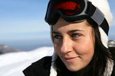 Portrait of a female skier — Stock Photo