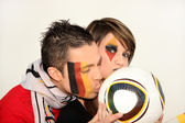Couple of German football fans — Stock Photo