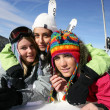 Stockfoto: Friends on a skiing holiday together