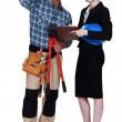 Stock Photo: Female supervisor and worker