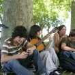 Group of teenage friends gathered in the park - Stock Photo