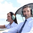 Man and woman in the cockpit of a light aircraft — Stock Photo #9053999