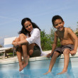 Mother and son dipping feet in swimming pool — Stock Photo #9055080
