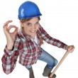 Stock Photo: Tradeswomgiving a-ok sign
