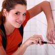 Stock Photo: Electricifixing outlet