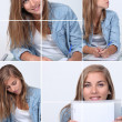 Collage of a blond girl working at her desk — Stock Photo