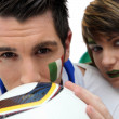 Couple of Italian soccer supporters — Stock Photo