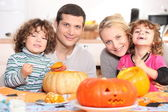 Carving the Halloween pumpkin — Stock Photo