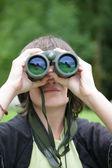 Female nature spotter — Stock Photo