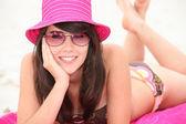 Girl wearing a sun hat — Stock Photo