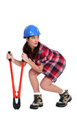 Sneaky woman with a pair of bolt cutters — Stock Photo