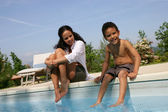 Mother and son dipping feet in swimming pool — Stock Photo