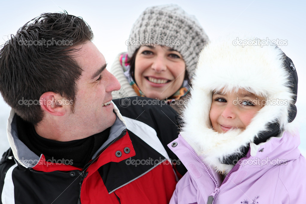 Three friends stood in snow — Stock Photo #9058763