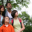 A family in the forest looking up — Stock Photo