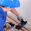 Plumber drilling — Stock Photo